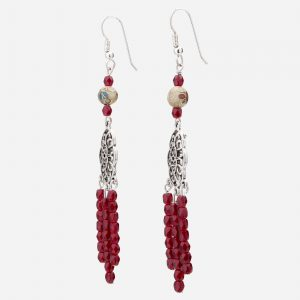 Brilliant Garnet and Cloisonne Bead Earrings
