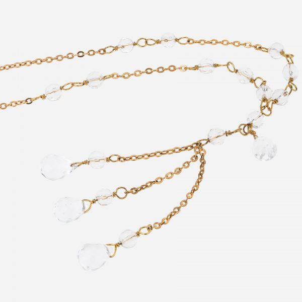 Gold Tone Crystal Quartz Y Necklace