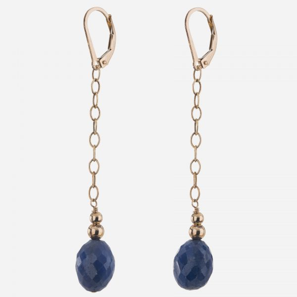 Handmade Gold Fil Lapis Drop Earrings