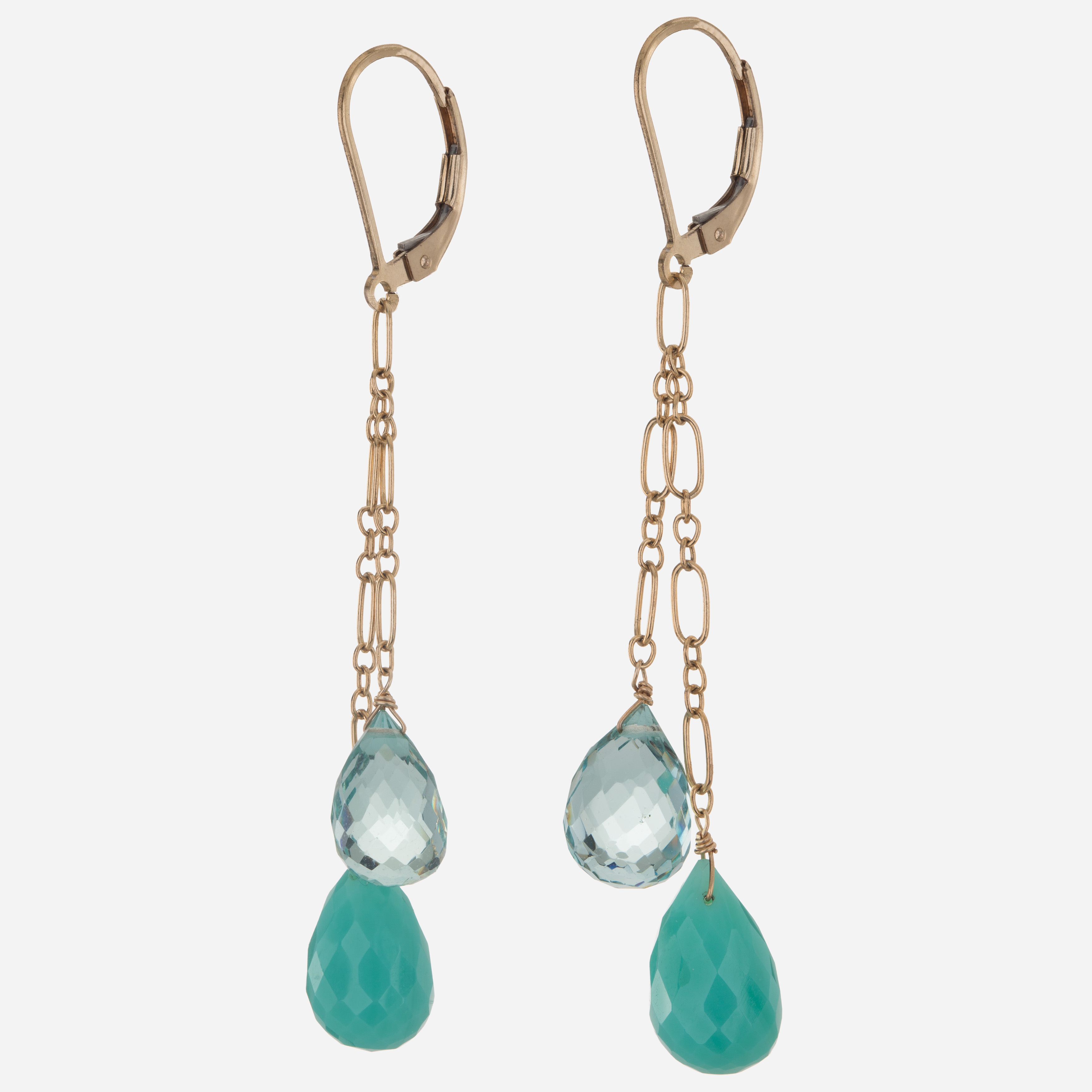 Handmade Gold Fill Amazonite and Blue Topaz Drop Earrings