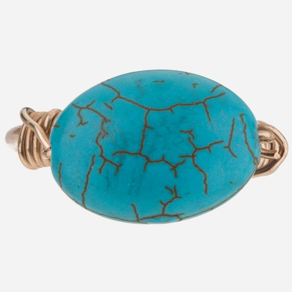 Handmade Gold Fill Turquoise Wired Ring