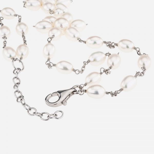 """Sterling Silver 17"""" Freshwater Pearls Flower Necklace"""