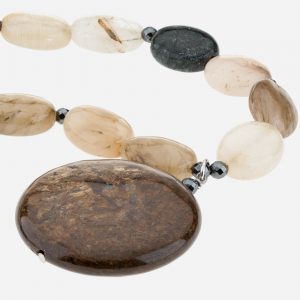 "Sterling Silver 18"" Agate, Bronzite and Hematite Necklace"