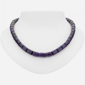 "Sterling Silver 18"" Genuine Amethyst Bead Necklace"