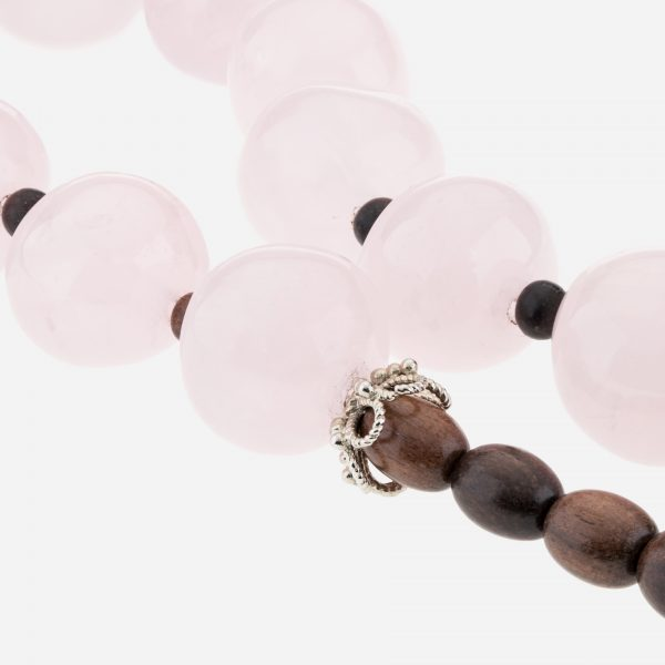 "Sterling Silver 20"" Rose Quartz and Wood Bead Necklace"