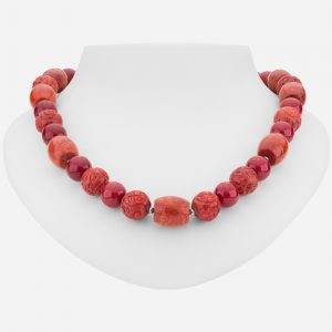 "Sterling Silver 31"" Cinnabar and Coral Necklace"