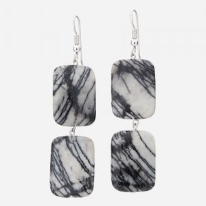 Sterling Silver Bold Zebra Jasper Bead Earrings