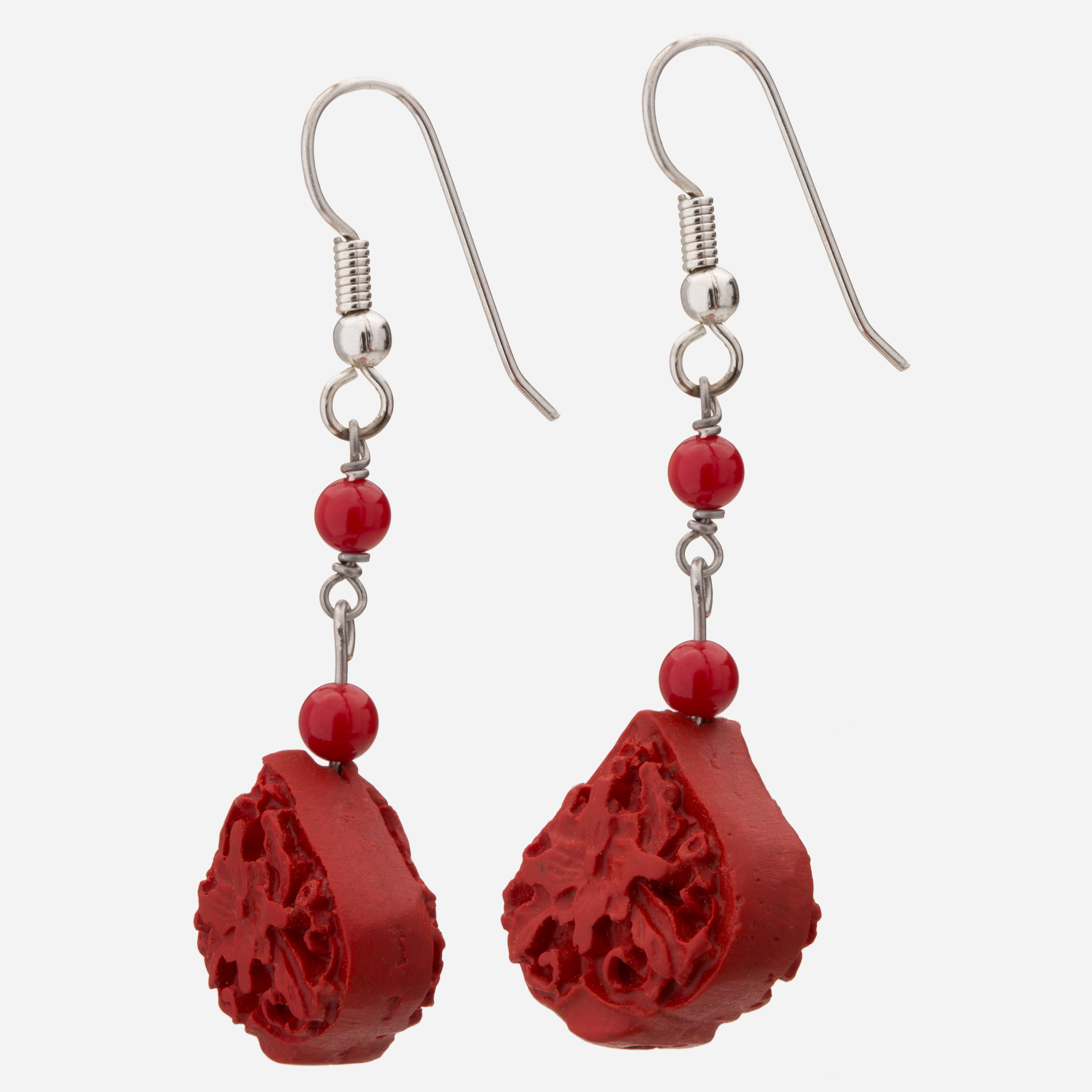 Sterling Silver Cinnabar And Dyed Red C Dangle Earrings
