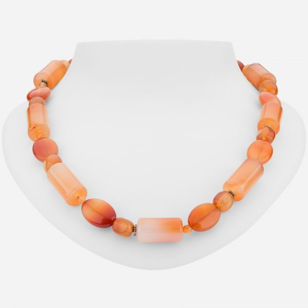 "Sterling Silver Colorful 20"" Carnelian Necklace"