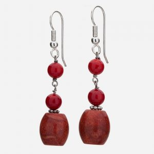 Sterling Silver Fossilized Coral & Cinnabar Dangle Earrings