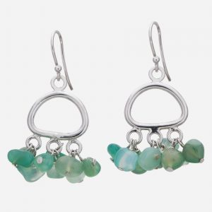 Sterling Silver Green Agate Chips Earrings