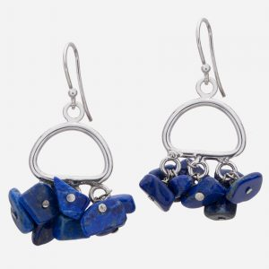 Sterling Silver Lapis Lazuli Chips Earrings
