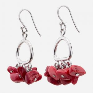 Sterling Silver Red Coral Chips Earrings