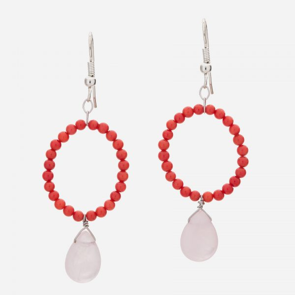 Sterling Silver Rose Quartz and Dyed Red Coral Dangle Earrings