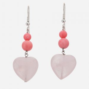 Sterling Silver Rose Quartz and Pink Coral Heart Dangle Earrings