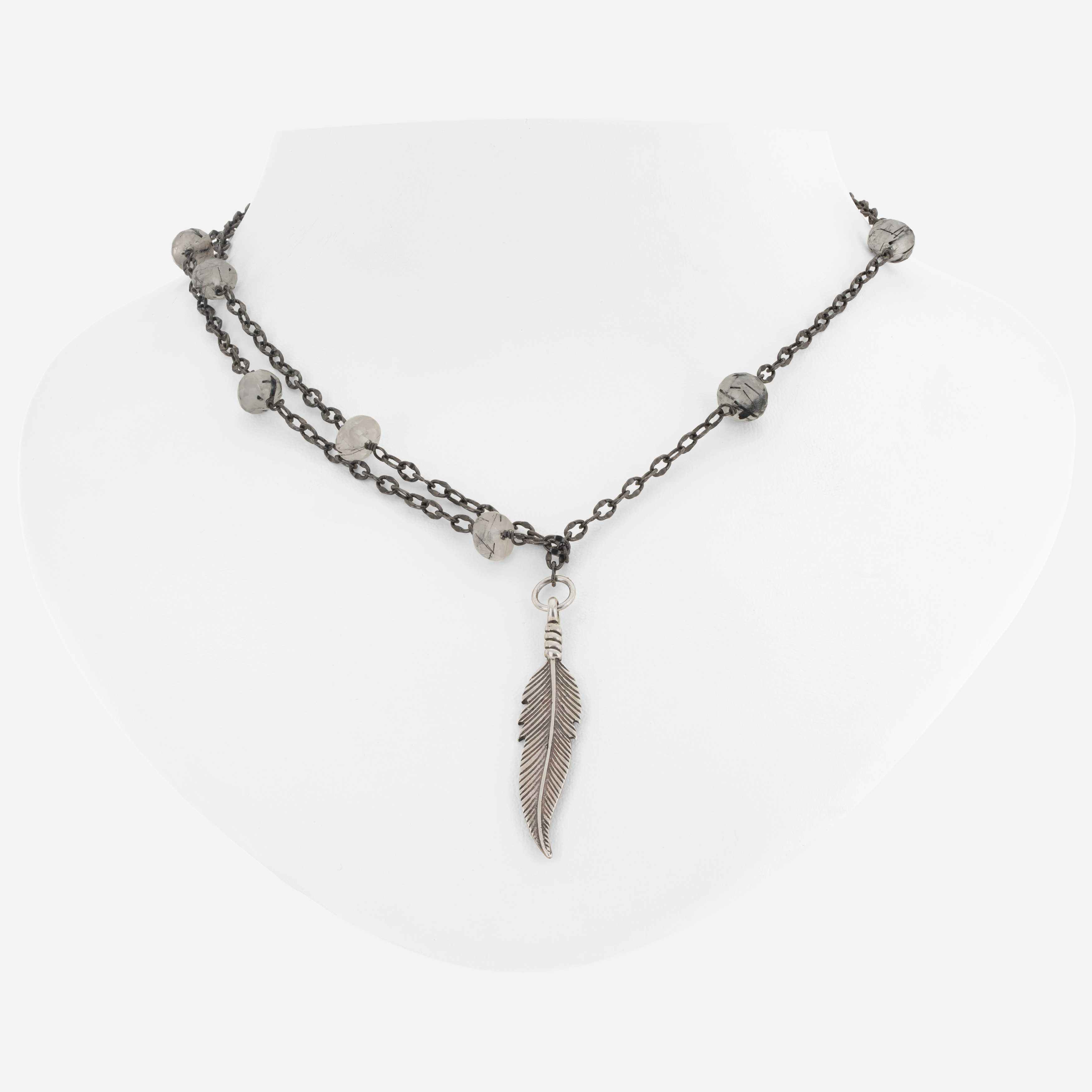 Sterling Silver Rutilated Quartz Feather Charm Y Necklace