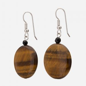 Sterling Silver Tiger's Eye and Black Onyx Dangle Earrings