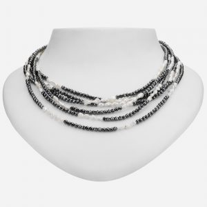 "Tara Mesa 100"" Hematite and Pearl Bead Necklace"