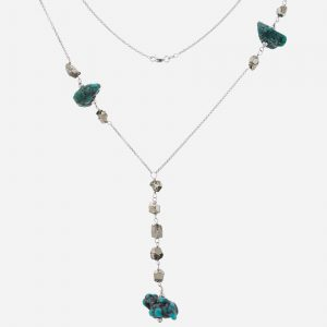 "Tara Mesa 16"" Turquoise Nugget and Pyrite Chain Necklace"