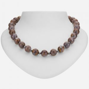 "Tara Mesa 18"" Fancy Jasper and Hematite Bead Necklace"