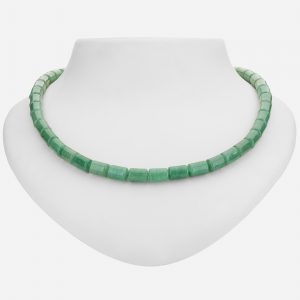 "Tara Mesa 18"" Green Aventurine Cylinder Bead Necklace"