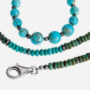 "Tara Mesa 18"" Turquoise and Hematite Roundell Bead Necklace"
