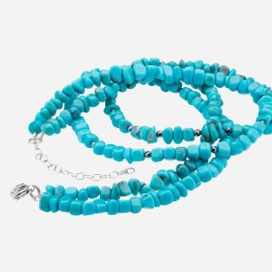 "Tara Mesa 18"" Turquoise Nugget and Hematite Bead Necklace"