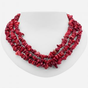 """Tara Mesa 18"""" Multi-Strand Red Coral Chips Beaded Necklace"""