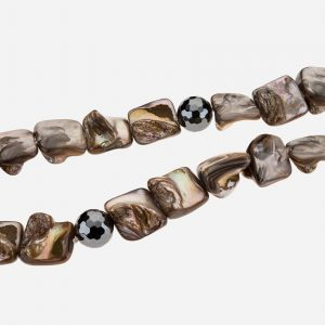 "Tara Mesa 19"" Abalone and Faceted Hematite Bead Necklace"
