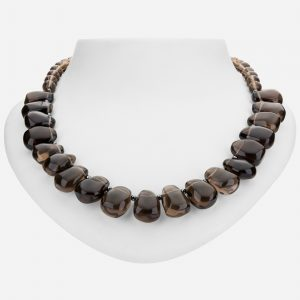 "Tara Mesa 19"" Hematite and Smoky Quartz Bead Necklace"