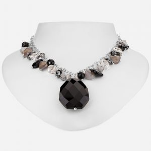 "Tara Mesa 20"" Black Onyx, Rutilated and Crystal Quartz Necklace   Rutilated and Crystal Quartz Necklace"
