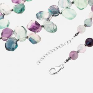 "Tara Mesa 20"" Fluorite, Hematite and Amethyst Bead Necklace"