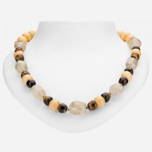 "Tara Mesa 20"" Rough Citrine, Yellow Jade, Hematite and Tiger's Eye Bead Necklace"