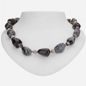 "Tara Mesa 20"" Snowflake Jasper, Crazy Purple Agate and Hematite Bead Necklace"