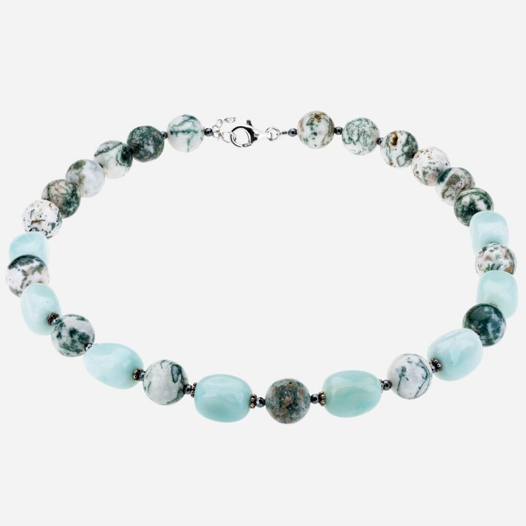"Tara Mesa 20"" Tree Agate, Amazonite and Hematite Bead Necklace"