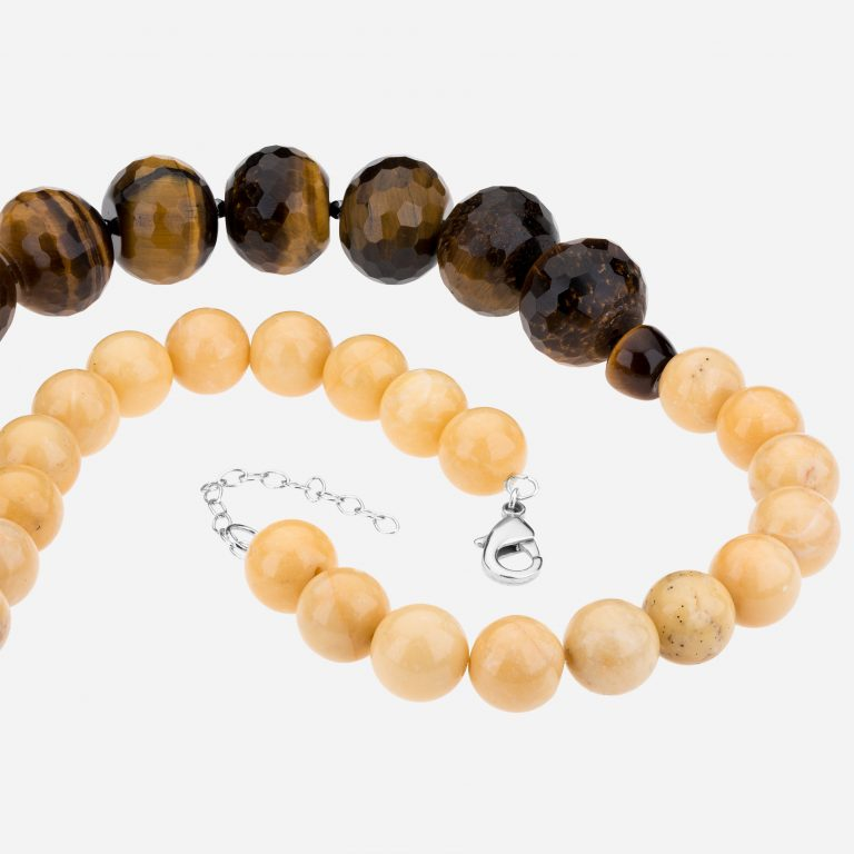 "Tara Mesa 20"" Yellow Jade and Tiger's Eye Bead Necklace"