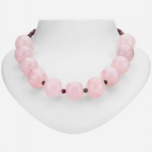 "Tara Mesa 24"" Rose Quartz and Tourmaline Bead Necklace"