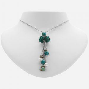 """Tara Mesa 24"""" Turquoise, Pyrite and Fresh Water Pearl Bead Chain Necklace"""