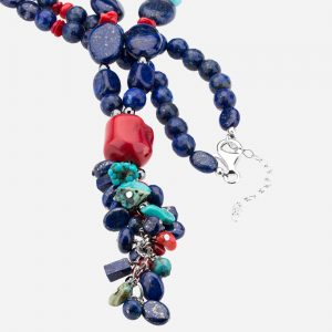 "Tara Mesa 30"" Lapis, Coral, Turquoise and Hematite Bead Necklace"