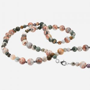 "Tara Mesa 35"" Ocean Jasper and Hematite Bead Necklace"