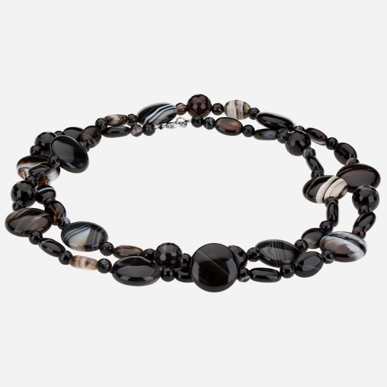 "Tara Mesa 35"" Tuxedo Agate and Black Onyx Bead Necklace"