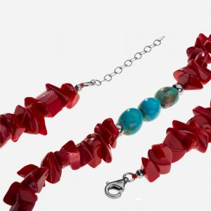 "Tara Mesa 36"" Coral Nugget Chip and Turquoise Bead Necklace"