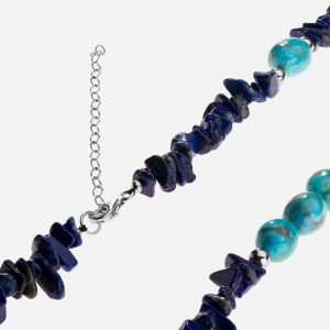 "Tara Mesa 36"" Lapis Nugget Chip and Turquoise Bead Necklace"