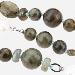 "Tara Mesa 42"" Labradorite and Freshwater Pearl Bead Necklace"