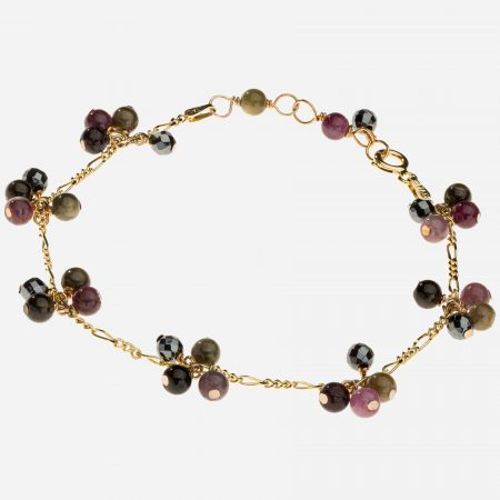 "Tara Mesa 7.5"" Multi Tourmaline Bead Bracelet with Sterling Silver 14k Gold Vermeil Chain"