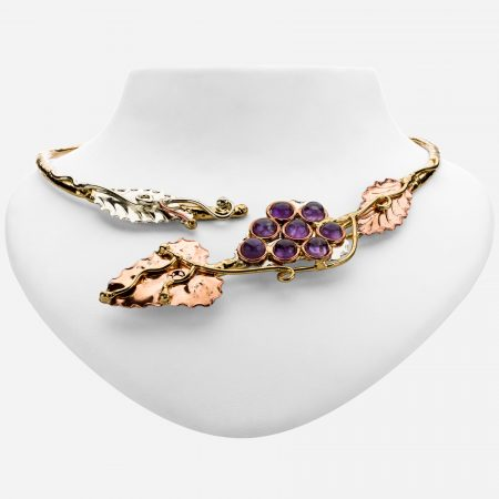 Tara Mesa Amethyst Collar Necklace Crafted in German Silver,Brass and Copper