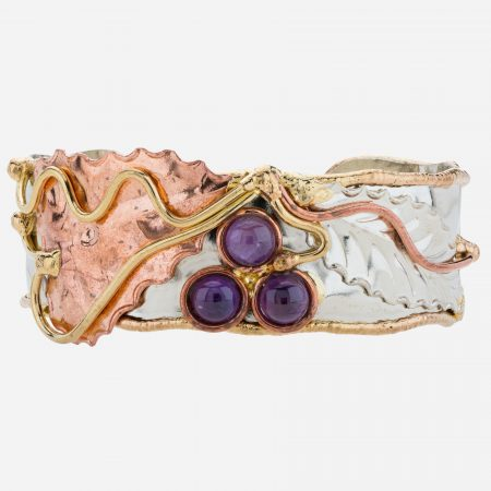 Tara Mesa Amethyst Cuff Crafted in Lovely German Silver with an Accent of Brass and Copper