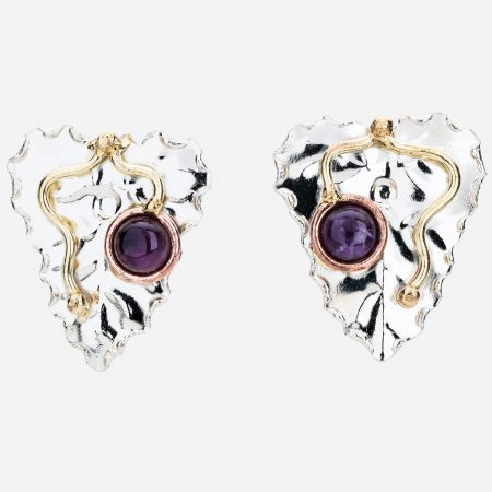 Tara Mesa Amethyst Leaf Earrings Crafted in German Silver with an Accent of Brass and Copper