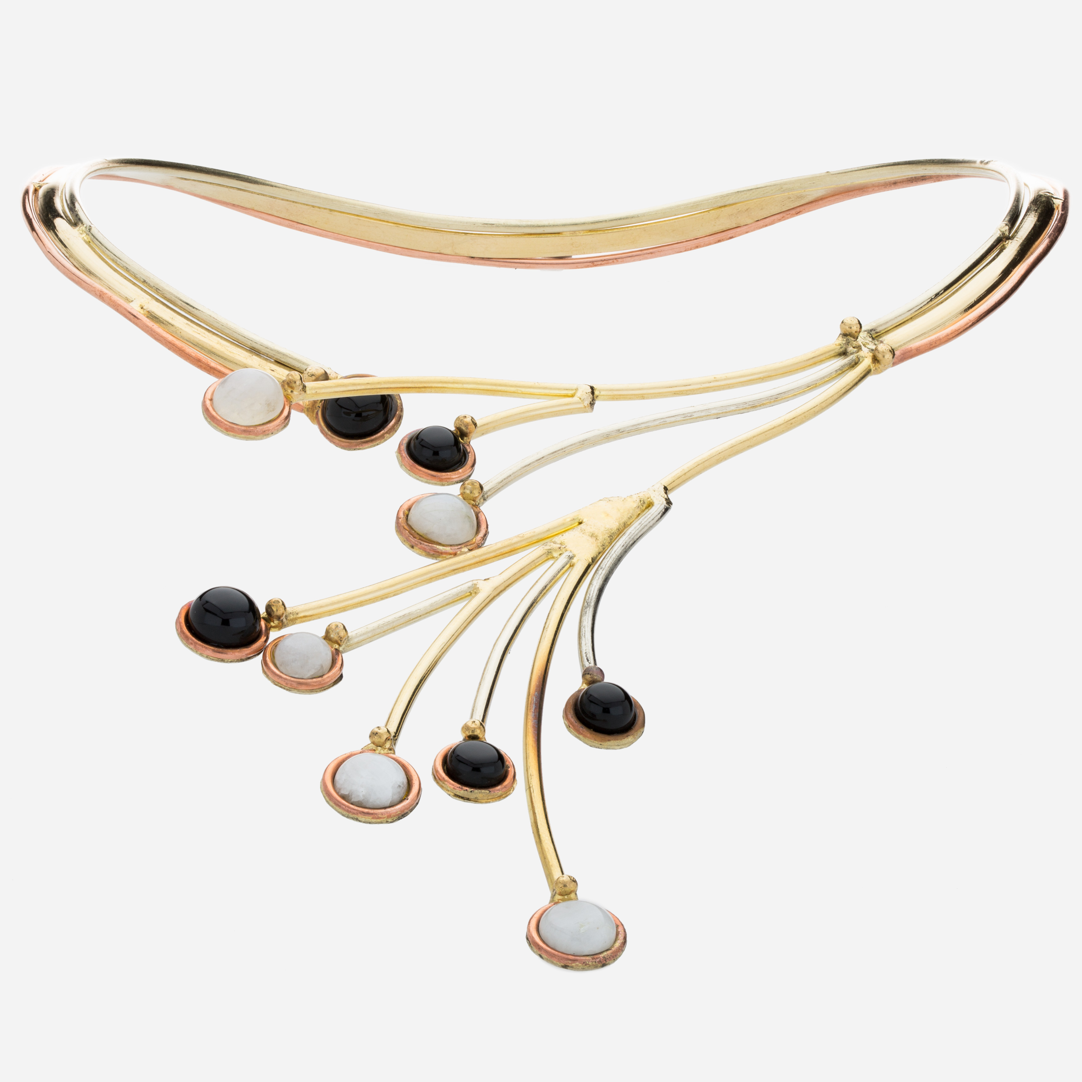 Tara Mesa Black Onyx & Labradorite Collar Necklace Crafted in German Silver—with an Accent of Brass and Copper