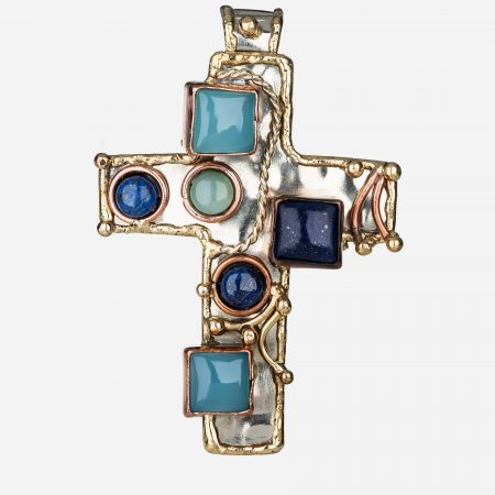Tara Mesa Blue Chalcedony and Lapis Lazuli Cross Pendant Crafted in German Silver with an Accent of Brass and Copper
